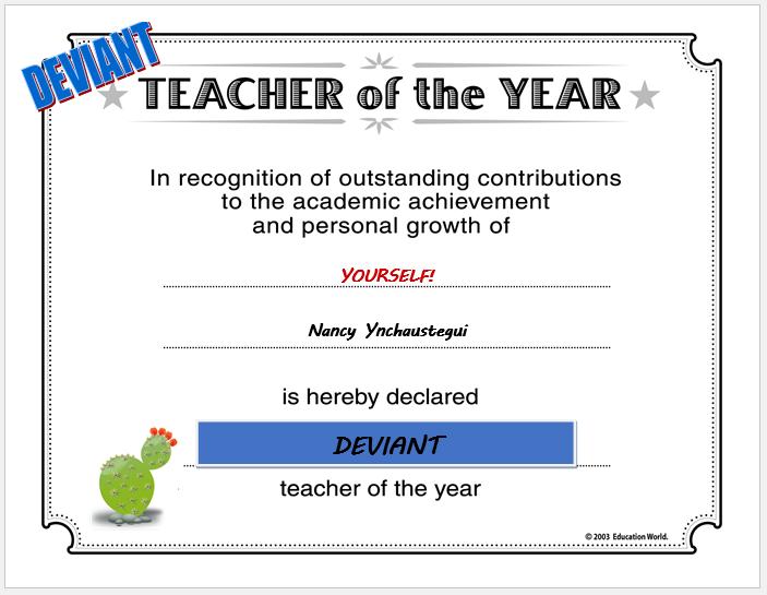 Deviant Teacher Award
